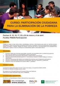 Cartel del curso : Participación ciudadana para la eliminación de la pobreza.